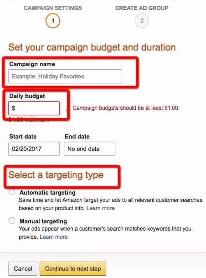 Amazon PPC Advertising Settings